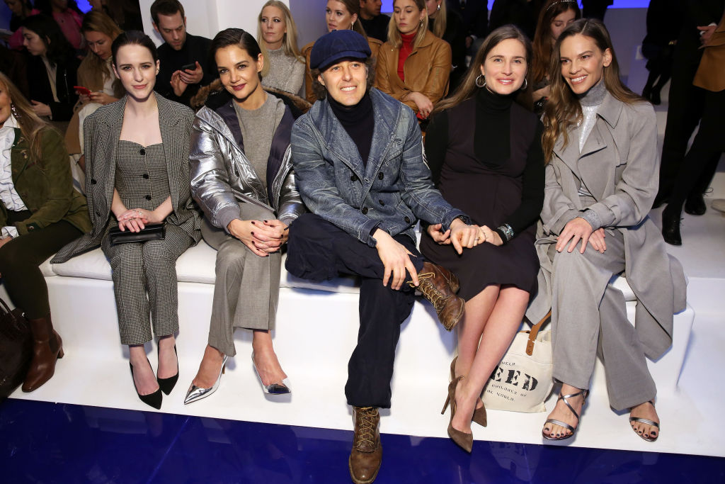 Rachel Brosnahan, Katie Holmes, David Lauren, Lauren Bush Lauren and Hilary Swankin attesa della sfilata Ralph Lauren - New York Fashion