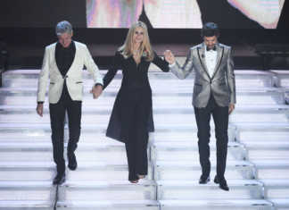 Michelle Hunziker (Moschino), Claudio Baglioni (Scervino) e Pierfrancesco Favino (DSquared2)