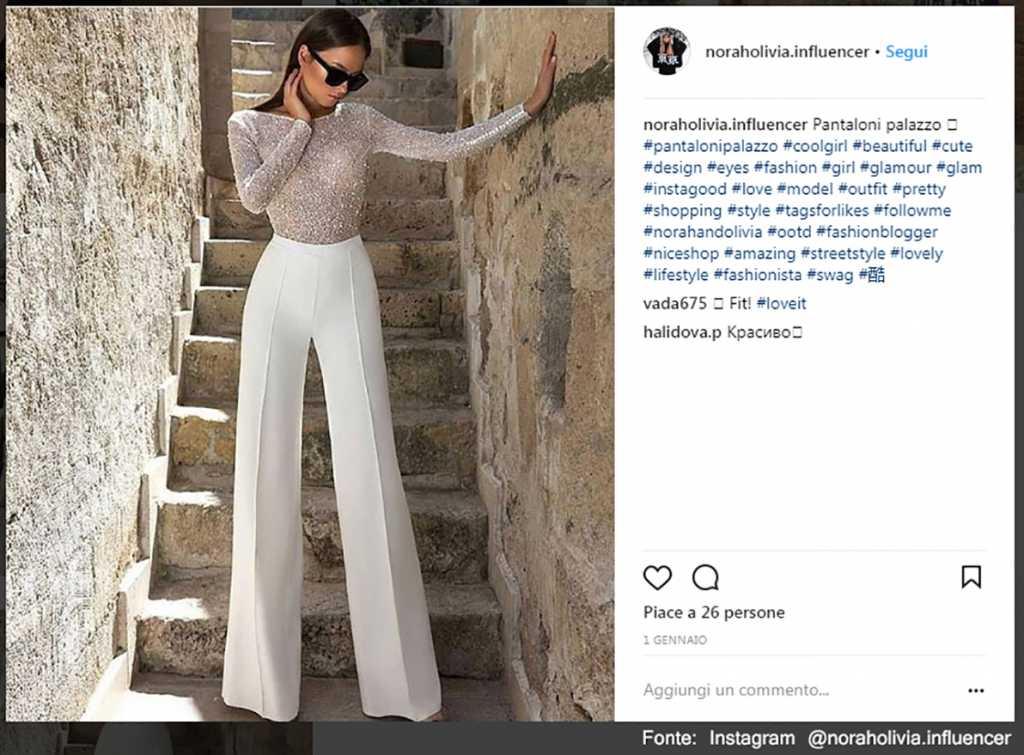 Pantalone palazzo - Fonte: Instagram @noraholivia.influencer