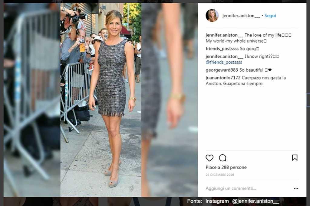Minigonna - Fonte: Instagram @jennifer.aniston