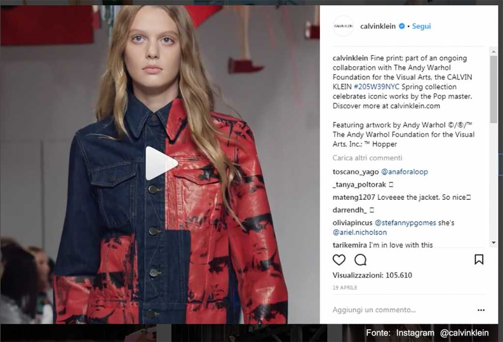 Rosso e blu in chiave 'rock' Fonte: Instagram @calvinklein