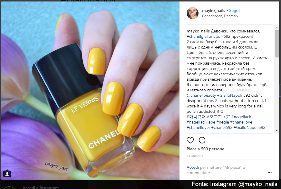 Chanel Giallo Napoli 592 - Fonte: Instagram @Mayko_nails