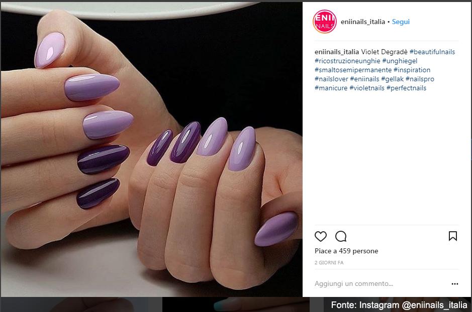 Due tonalità di ultra violet, tendenza 2018 - Fonte: Instagram @eniinails_italia