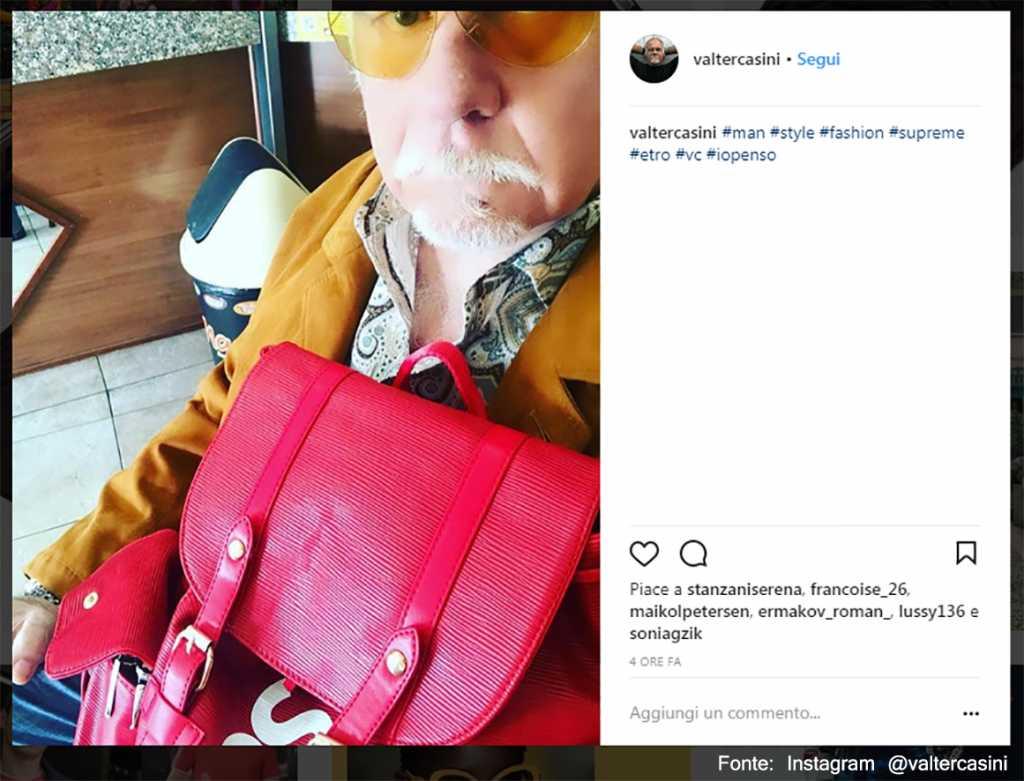 Giallo senape e rosa geranio anche per l'uomo - Fonte: Instagram @valtercasini