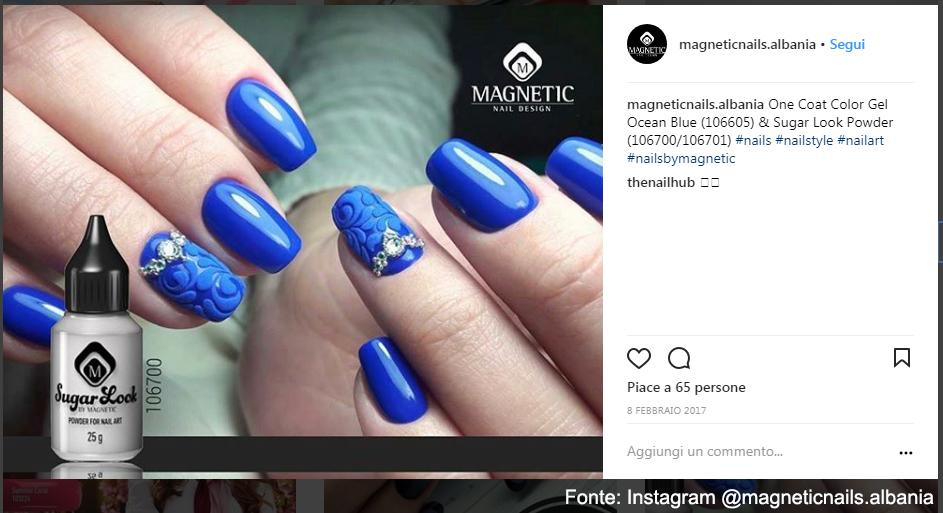 Ricostruzione e nailart con prodotti Magnetic - Fonte: Instagram @magneticnails.albania