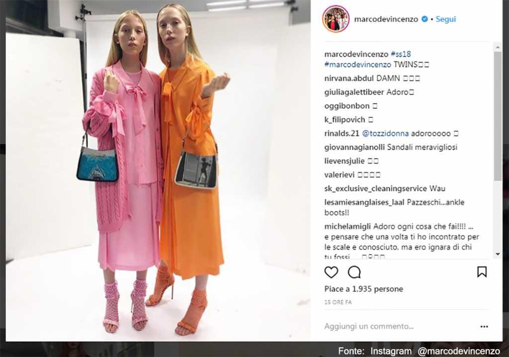 Rosa e arancio a contrasto - Fonte: Instagram @marcodevincenzo