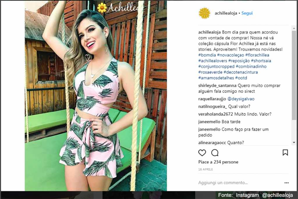 Rosa e verde - Fonte: Instagram @achillealoja