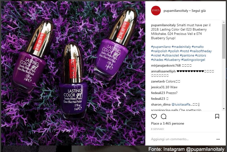 Smalto Pupa - Fonte: Instagram @pupamilanoitaly