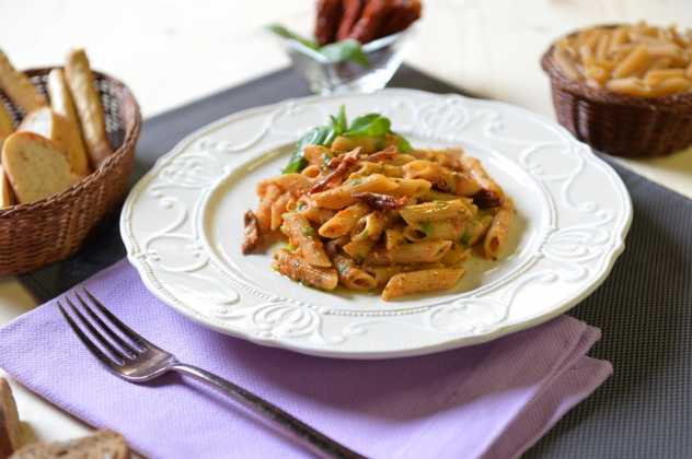 Penne integrali al pesto trapanese. Photo Courtesy Press Office