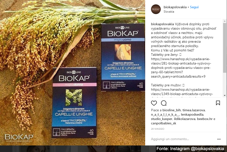 Biokap, benessere completo per capelli e unghie - Fonte: Instagram @biokapslovakia