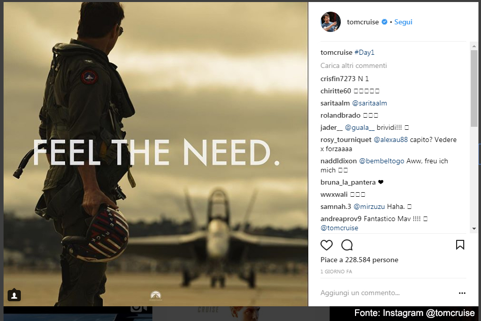 Tom Cruise annuncia il sequel di Top Gun - Fonte Instagram @tomcruise
