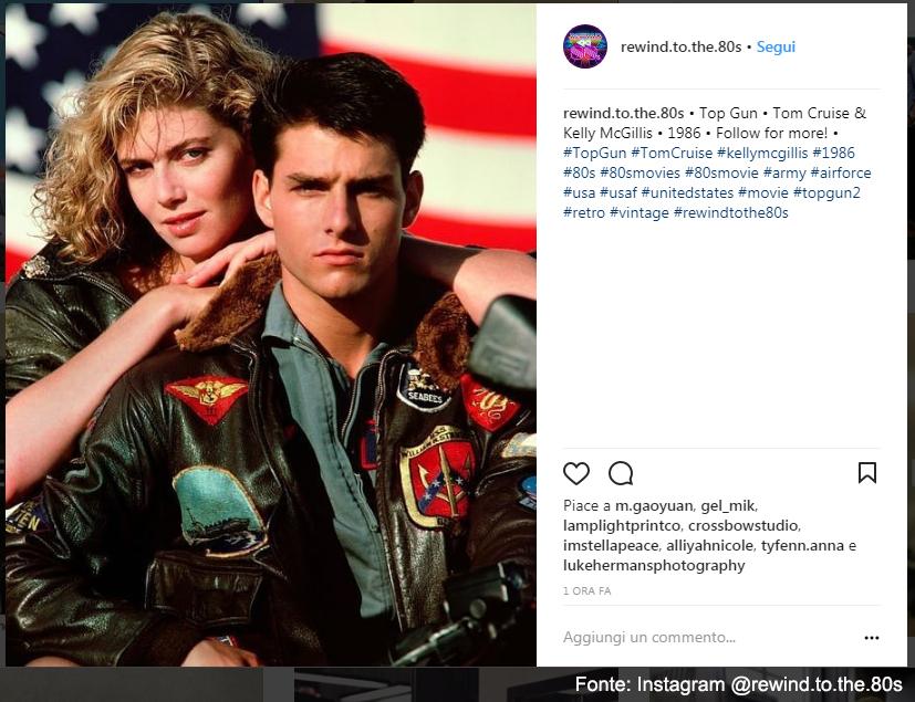 L'immagine più celebre di Top Gun - Fonte Instagram @rewind.to.the.80s