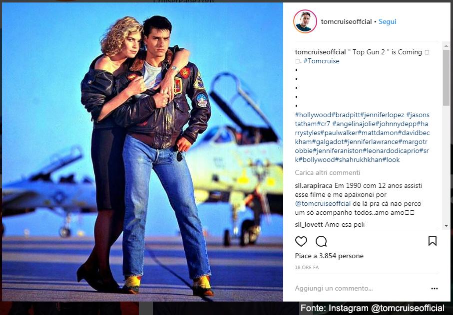 Kelly Mc Gillis e Tom Cruise in Top Gun - Fonte Instagram @tomcruiseofficial