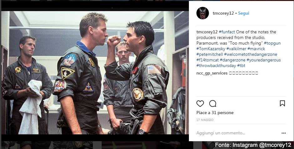 Cruise con Val Kilmer 'Iceman' - Fonte Instagram @tmcorey12
