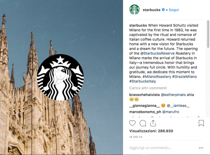 Starbucks apre a Milano (photo Instagram)